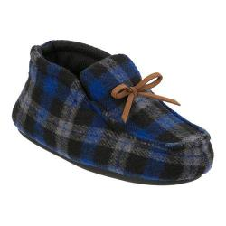 Boys' Dearfoams Plaid Bootie Slipper with Tie Blue Plaid