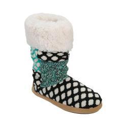 Women's Dearfoams Tall Patchwork Boot Slipper with Memory Foam Black
