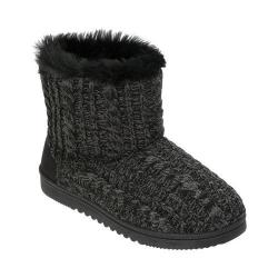 Women's Dearfoams Marled Cable Knit Boot Slipper with Memory Foam Black