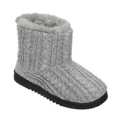 Women's Dearfoams Marled Cable Knit Boot Slipper with Memory Foam Light Heather Grey