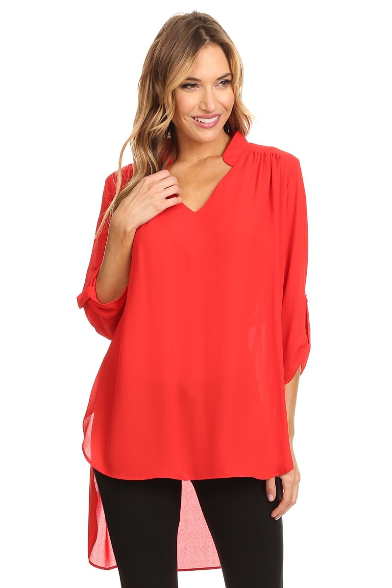 High Secret Women's Roll-up Sleeves Solid Color High-low Notch-neck Tunic/Blouse