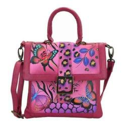 Women's ANNA by Anuschka Hand Painted Flap Saddle Bag 8074 Animal Butterfly Pink