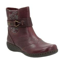 Women's Clarks Fianna Adley Ankle Boot Aubergine Goat Corrected Full Grain Leather
