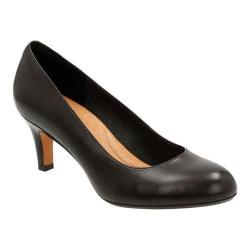 Women's Clarks Heavenly Heart Pump Black Goat Full Grain Leather