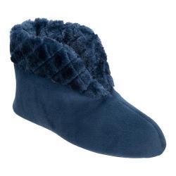 Women's Dearfoams Velour Bootie Slipper with Memory Foam Blue Topaz