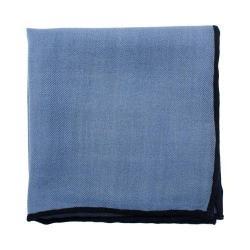 Men's Cufflinks Inc Hem Wool Pocket Square Light Blue/Navy