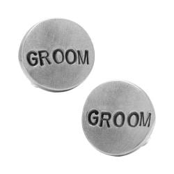 Men's Cufflinks Inc Pewter GROOM Cufflinks Silver