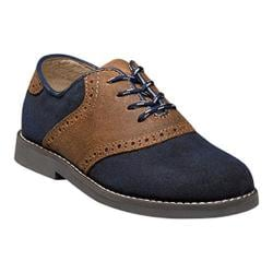 Boys' Florsheim Kennett Saddle Oxford Jr. II Navy Suede/Cognac/Dark Gray Sole