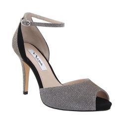 Women's Nina Rimma Peep-Toe Ankle Strap Steel Luna Shine/Black Glam Suede