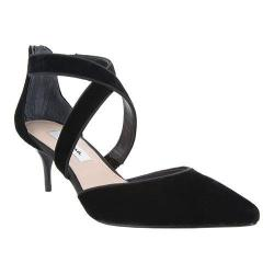 Women's Nina Tessie Cross-Strap Kitten Heel Black Night Roman Velvet/Luster Satin