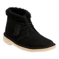 Women's Clarks Desert Boot Black Suede Warm Lined