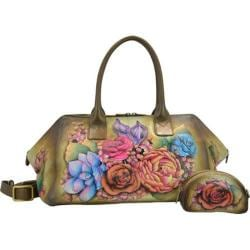 Women's Anuschka Hand Painted Leather Wide Convertible Tote Lush Lilac Bronze