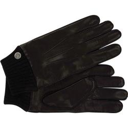 Men's Ben Sherman Leather Gloves with Knit Trim Black 20583692