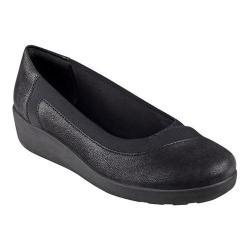 Women's Easy Spirit Kathleen Wedge Slip On Black/Black Fabric