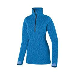 Women's Terramar Tri Color Melange Fleece 1/2 Zip T-Shirt Blue Tricolor