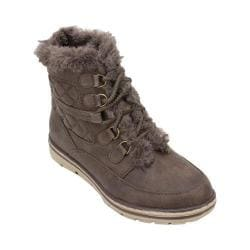 Women's Cliffs by White Mountain Kassia Quilted Hiker Boot Stone Distressed Textile/Fur
