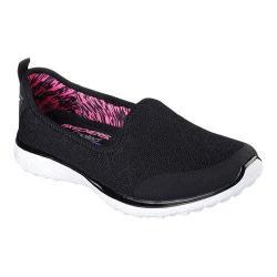 Women's Skechers Microburst It's My Life Slip On Sneaker Black/White