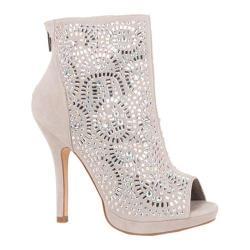 Women's Lauren Lorraine Yasmin Peep Toe Bootie Silver Fabric/Polyurethane