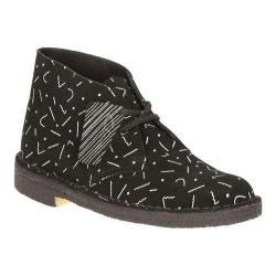 Women's Clarks Desert Boot Black/White Graphic Print Suede