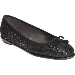 Women's Aerosoles Fast Bet Ballet Flat Black Velvet Sequin Lace Fabric