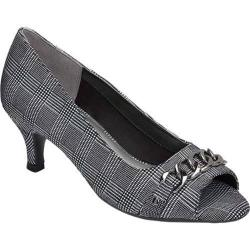 Women's Aerosoles Made Of Honor Open Toe Pump Black Plaid