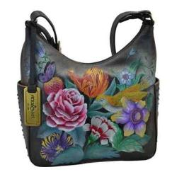 Women's Anuschka Hand Painted Leather Classic Hobo With Studded Sid Vintage Bouquet