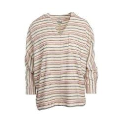 Women's Woolrich Twisted Rich Flannel Popover Shirt Wool Cream Stripe