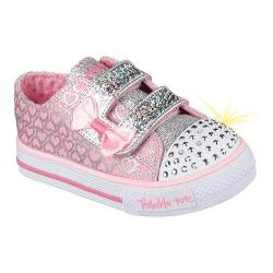 Girls' Skechers Twinkle Toes Shuffles Glitter Pop Sneaker Pink/Silver