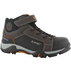 Boys' Hi-Tec Trail Ox Mid Waterproof Junior Boot Dark Chocolate/Black/Burnt Orange Leather