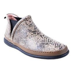 Women's Taryn Rose Fose Bootie Sneaker Taupe Snake Print Suede
