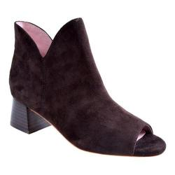 Women's Taryn Rose Fleet Open-Toe Bootie Dark Brown Kid Suede