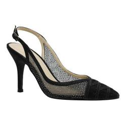 Women's J. Renee Savina Stiletto Pointed Toe Slingback Black Dance Glitter Fabric