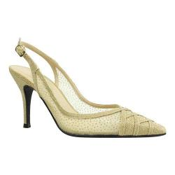 Women's J. Renee Savina Stiletto Pointed Toe Slingback Gold Dance Glitter Fabric