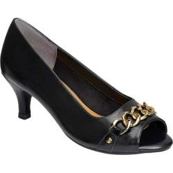 Women's Aerosoles Made Of Honor Open Toe Pump Black Leather