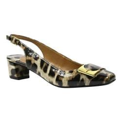 Women's J. Renee Venda Low Block Heel Slingback Tan/Black Leopard Print Patent