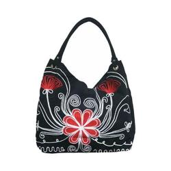 Women's Bamboo54 Hobo Embroidered Bag Black Flowers 81