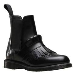 Women's Dr. Martens Tina Kiltie Brogue Chelsea Boot Black Polished Smooth