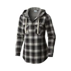 Women's Columbia Times Two Hooded Long Sleeve Shirt Black Plaid