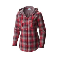 Women's Columbia Times Two Hooded Long Sleeve Shirt Punch Pink Plaid
