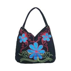 Women's Bamboo54 Hobo Embroidered Bag Black Flowers 39