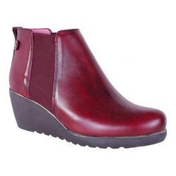Women's Helle Comfort Genesis Chelsea Wedge Boot Burgundy Leather