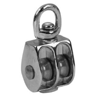 "Campbell T7655312 1"" Nickel Swivel Eye Double Sheave Pulley"