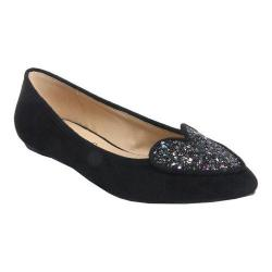 Women's Penny Loves Kenny Nookie Glitter Flat Black Microsuede