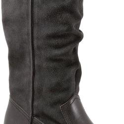 Women's SoftWalk Rock Creek Wide Calf Boot Dark Grey Smooth Leather/Cow Suede