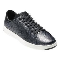 Women's Cole Haan Grand Pro Tennis Sneaker Black/Gunmetal Foil Snake Print Leather