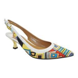 Women's J. Renee Kenlie Mid Heel Slingback Bright Multicolored Geo Aztec Print Fabric/Patent