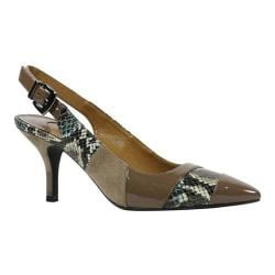 Women's J. Renee Laceyann Mid Heel Slingback Taupe/Birch Multi Snake Print Fabric/Suede/Patent