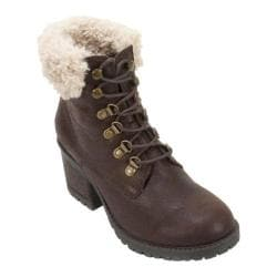 Women's Cliffs by White Mountain Trident Fur Collar Hiker Boot Brown Distressed PU/Multi Fur