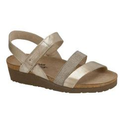 Women's Naot Krista Strappy Wedge Sandal Satin Gold Leather/Beige with Silver Rivets