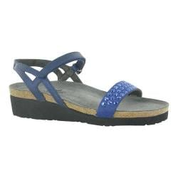 Women's Naot Lexi Ankle Strap Sandal Polar Sea Leather/Blue with Blue Rhinestone